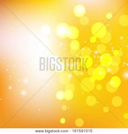 Yellow Circle On Golden Background, Vector Illustration