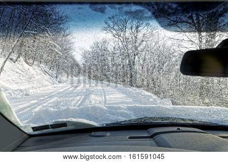 Driving on a Snow Covered Mountain Road in Pennsylvania USA.