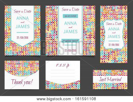 Beautiful wedding set of printed materials with a abstract design. Wedding invitation card save the date cards R.S.V.P. and thank you card