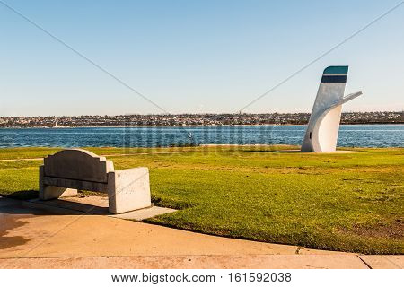 SAN DIEGO, CALIFORNIA - DECEMBER 2, 2016:  Ski Beach Park on Mission Bay, with sculpture as a memorial to American hydroplane racing legend, Bill Muncey.