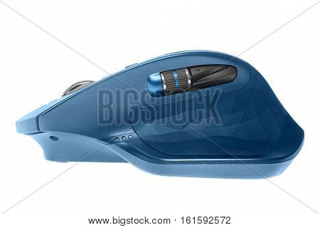 Wireless computer mouse. Blue color. Isolated on white background, side view