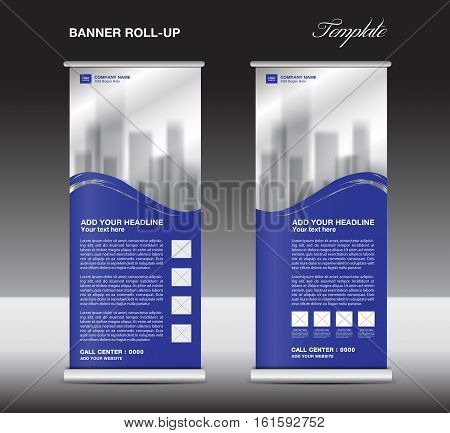 Blue Roll up banner template vector, flyer advertisement, x-banner, poster, pull up design, display layout