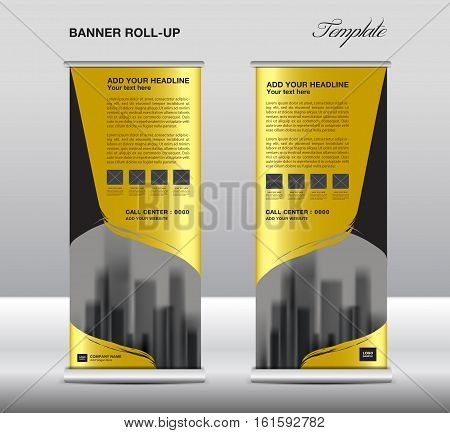 Gold Roll up banner template vector, flyer, advertisement, x-banner, poster, pull up design