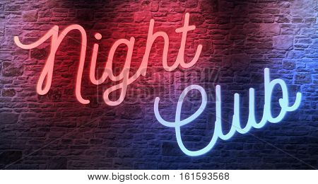 Flickering Blinking Red And Blue Neon Sign On Brick Wall Background, Adult Show Night Club