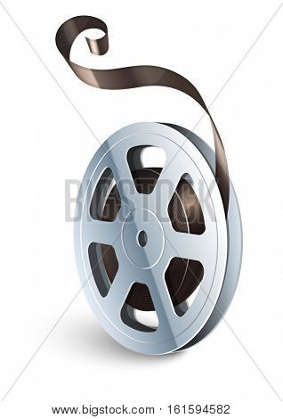 Film tape cinematography video movie disk for classic vintage cinema theatre. Vector illustration. Isolated on white background