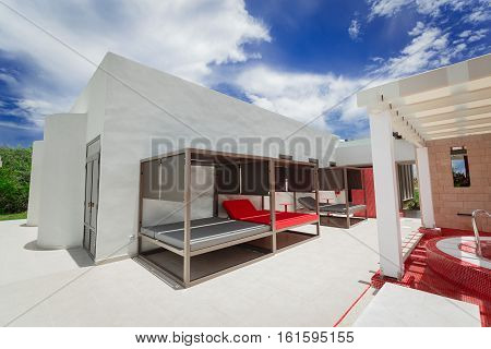 Cayo Coco island, Pullman hotel, Cuba, June 28, 2016, stunning beautiful inviting view of resort outdoor spa room on sunny gorgeous day