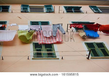 Linen Hanging On A Street Of Riomaggiore
