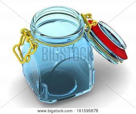 Open glass Jar for canning and preserving. Isolated. 3D Illustration