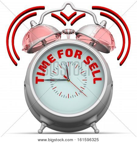 Time for sell. The alarm clock with an inscription. Alarm clock with the words