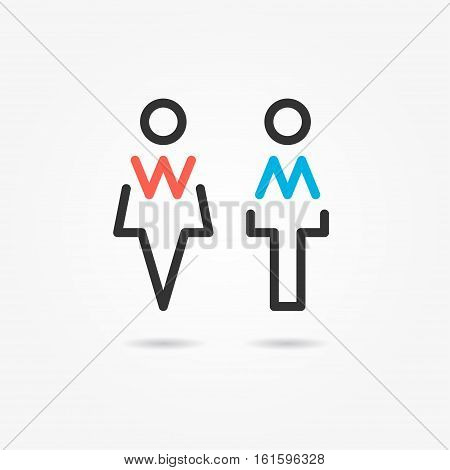 Restroom vector icons. Man and woman toilet icons. Gentleman and lady symbols.
