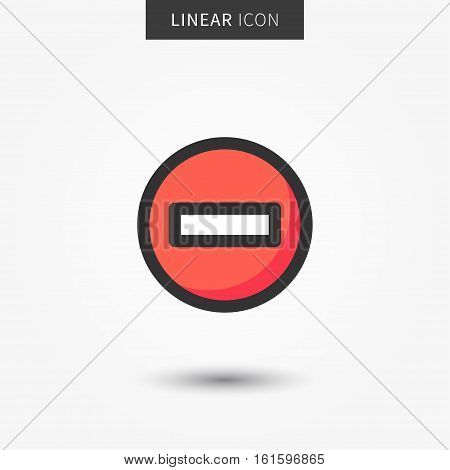 Stop icon vector illustration. Isolated warning line symbol. Red warning circle linear symbol. Forbidden sign on grey background. Attention outline icon.