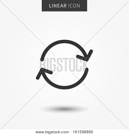 Refresh icon vector illustration. Isolated sync line symbol. Update linear icon. Rotation outline element. Reload line concept.