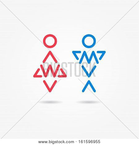 Restroom vector icons. Man and woman toilet icons. Gentleman and lady symbols. Isolated male and female wc symbols. Lavatory signs. Man and woman washroom symbols.