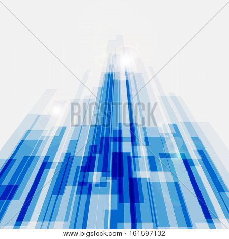 Perspective blue abstract straight lines background, stock vector