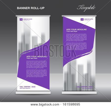 Purple Roll up banner template vector flyer, advertisement, x-banner, poster, pull up design