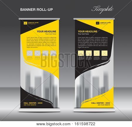 Yellow and black Roll up banner template vector. flyer. advertisement. x-banner. poster. pull up design