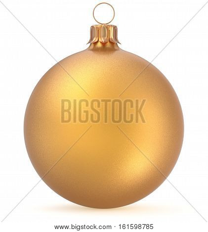 Christmas ball gold New Year's Eve decoration wintertime hanging sphere adornment souvenir bauble yellow. Traditional ornament happy winter holidays Merry Xmas symbol closeup. 3d illustration isolated
