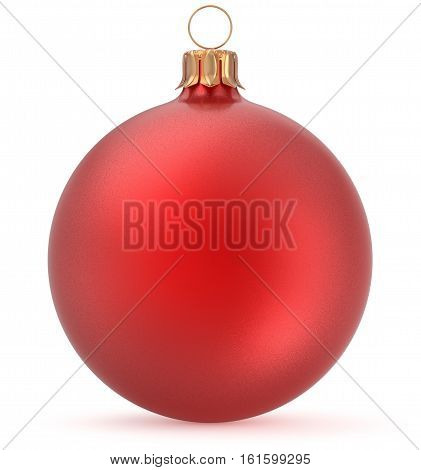 Christmas ball red New Year's Eve decoration shiny wintertime hanging sphere adornment souvenir bauble. Traditional ornament happy winter holidays Merry Xmas symbol closeup. 3d illustration isolated