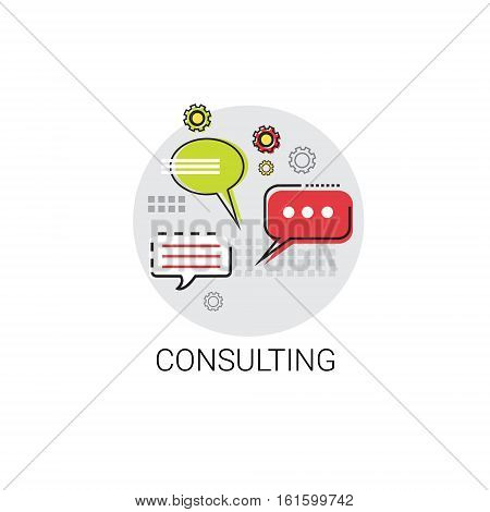 Chat Box Consulting Icon Social Network Communication Vector Illustration