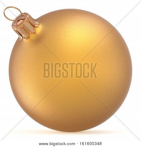 Christmas ball golden wintertime ornament New Year's Eve hanging shiny sphere decoration adornment bauble yellow. Traditional happy winter holidays Merry Xmas symbol closeup. 3d illustration isolated