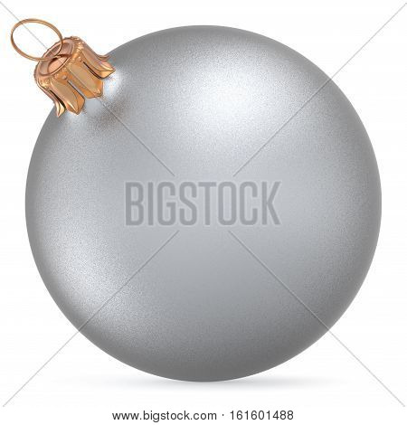 Christmas ball silver white wintertime ornament New Year's Eve hanging shiny sphere decoration adornment bauble. Traditional happy winter holidays Merry Xmas symbol closeup. 3d illustration isolated