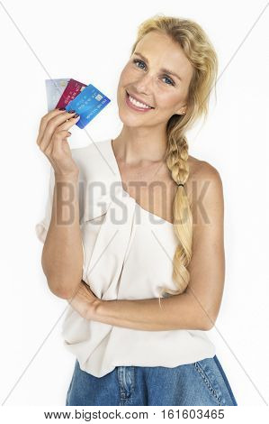 Female Consumer Spend Credit Card Concept