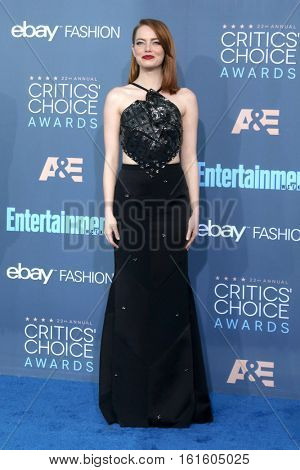 LOS ANGELES - DEC 11:  Emma Stone at the 22nd Annual Critics' Choice Awards at Barker Hanger on December 11, 2016 in Santa Monica, CA