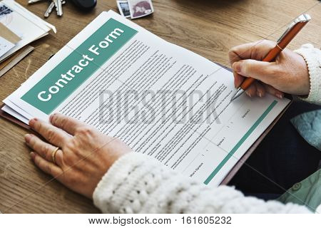 Contract Form Document Law Obligation Concept