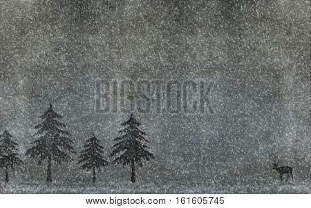Christmas background with christmas trees snowflakes and deer