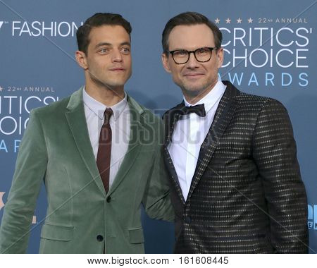 LOS ANGELES - DEC 11:  Rami Malek, Christian Slater at the 22nd Annual Critics' Choice Awards at Barker Hanger on December 11, 2016 in Santa Monica, CA