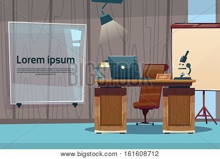 Medical Doctor Clinic Office Empty Cabinet Workplace Flat Vector Illustration