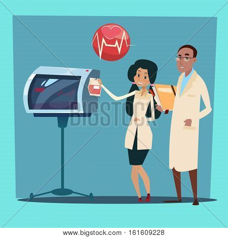 Medical Doctor Team Man and Woman Cardiologist Analysis Cardiogram Flat Vector Illustration