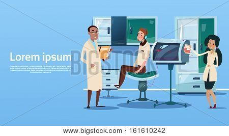 Medical Doctor Team Examinig Patient Clinic Interior Workplace Hospital Medicine Care Flat Vector Illustration