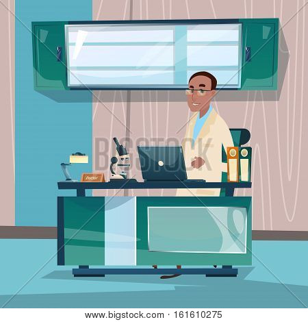 Doctor Professor Office Clinic Interior Workplace Hospital Medicine Care Flat Vector Illustration