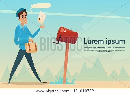 Boy Postman Putting Letter Envelope In Mail Box Post Service Flat Vector Illustration