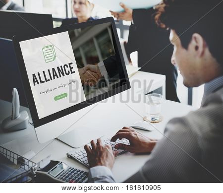 Alliance word on business handshake background