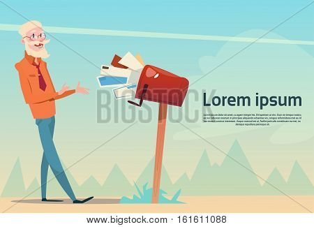 Senior Man Getting Letter From Full Mail Box Post Service Flat Vector Illustration