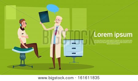 Medical Doctor Examinig Patient Clinic Interior Workplace Hospital Medicine Care Flat Vector Illustration