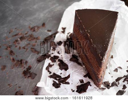 close up dark chocolate fudge cakeselective focus.