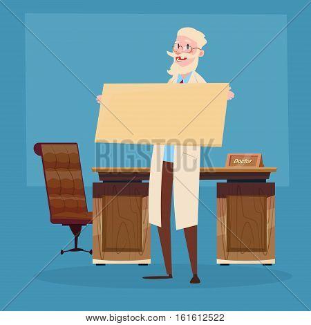 Medical Doctor Senior Practitioner Hold Empty Board Flat Vector Illustration