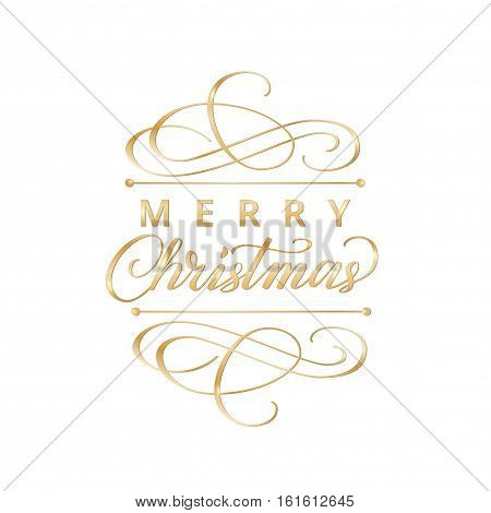 Merry christmas card with typographic design elements. Golden Merry christmas label with flourishes and hand drawn calligraphy for your design. EPS10 vector illustration.