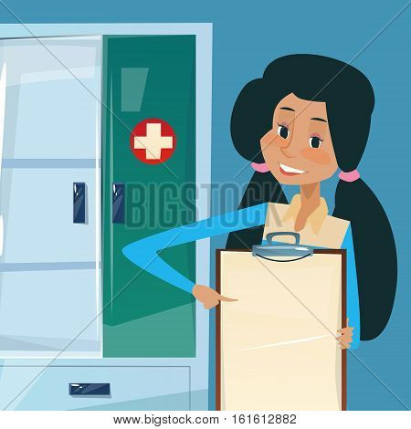 Medical Doctor African American Woman Practitioner Point To Empty Board Flat Vector Illustration