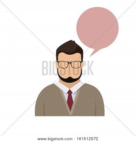 Profile Icon Male Avatar Man Hipster Cartoon Guy Beard Portrait Casual Person Silhouette Face Chat Bubble Flat Vector Illustration