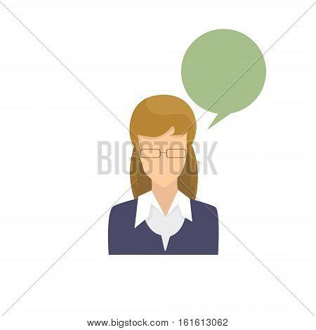Profile Icon Female Avatar Woman Cartoon Portrait Casual Person Silhouette Face Chat Bubble Flat Vector Illustration