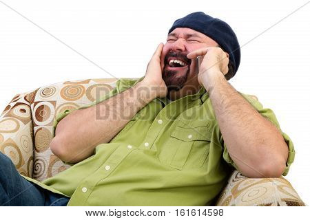 Laughing Overweight Man In Chair With Mobile