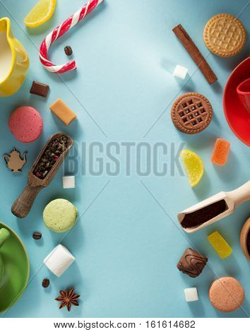 food  ingredients at blue paper background