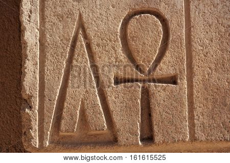 The Ankh, also known as key of life. It was the ancient Egyptian hieroglyphic character that reads â??eternal lifeâ??