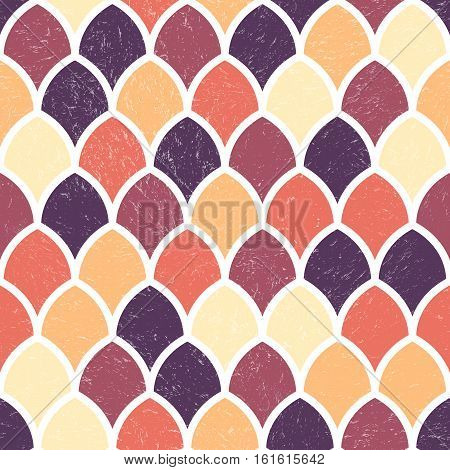 Vector Geometric Seamless Pattern. Repeating Abstract Background with Grunge Texture. Vintage Bright Graphic Ornament with Scale Shapes