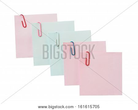 Rearrange paper note with clip paper of isolated on white background