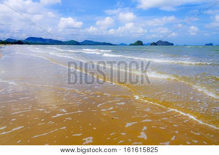 Golden sand wave and wind on beach in Chumphon province Thailand.